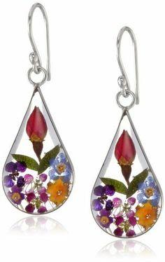 sterl silver, sterling silver, silver press, flowers, teardrop earring, press flower, flower jewelri, flower teardrop, earrings