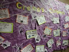 April is National Poetry month, but this is also a GREAT Bulletin Board idea when teaching poetry around Halloween. classroom craft, school, classroom scene, bulletin boards, ra idea, papers, halloween bulletin, teach, board idea