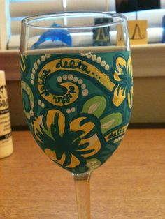 Handpainted Lilly Pulitzer Wine Glasses by Silly4Lilly on Etsy, $20.00