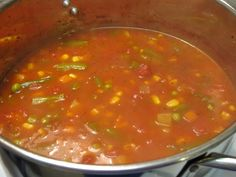 Mom's Vegetable Soup: 2# chuck roast, corn, potatoes, carrots, celery, onion, tomato juice, barley (veggies can be canned or frozen).  Boil beef with salt.  Chop veggies and put in broth and let things cook.  Add about 1 c. tomato juice. ~Elaine