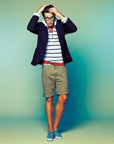 Khaki shorts paired with red splash, white and blue stripes and a blazer.  Sweet look