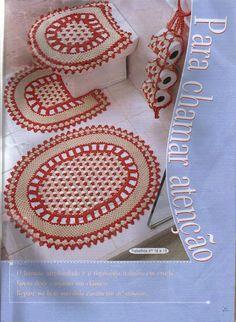 Uncinetto d'oro: Completo per bagnio. Bathroom Set with Rug and Tissue Holder...(Crocheted) Charts woman fashion, bathroom set, bathroom crochet, bathrooms decor, bathroom accessories, chart, de baño, uncinetto doro, vintage bathrooms