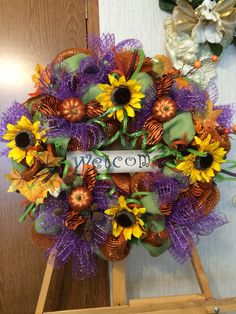 Fall Deco Mesh Wreath by WreathsEtc on Etsy, $98.00