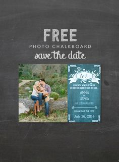 Free chalkboard photo save the dates. Upload your photo and info and print here http://www.weddingchicks.com/freebies/save-the-dates/free-chalkboard-save-the-date/