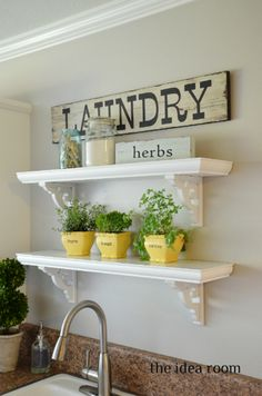 Laundry Room - Vinyl ideas with the Silhouette. Love the Laundry Sign, herbs sign and the herb-pot labels