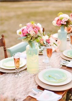 peach pink and mint wedding ideas