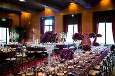 Purple table decor at San Francisco Wedding - photos by Cliff Brunk Photography | junebugweddings.com