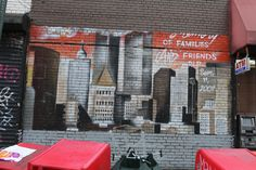 A wall painting in East Village, Manhattan, New York City shows the Twin Towers on the New York City skyline.