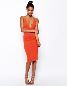 Image 1 ofOh My Love Scuba Plunge Neck Bodycon Dress With Strap Back