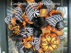 Orange and Black Whimsical Halloween Wreath (with spider)