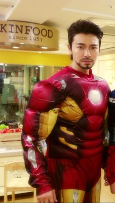 Donghae grows a mustache to become Tony Stark in 'Iron Man' suit