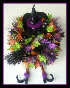 Witches should never text and fly! Halloween Deco mesh wreath DDL Designs