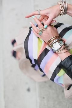 candy colors + stacked metallics