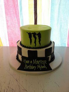 drink cake, energi drink, cake idea, cake design, tiered cakes, energy drinks, monster energy cake, monster cakes, parti