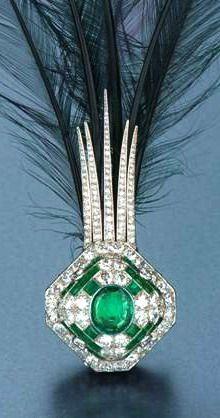 Cartier emerald and diamond aigrette, circa 1925