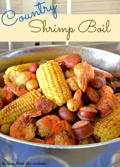 Country Shrimp Boil - 1 lb. shrimp - 2 packages smoked sausage - onion - 12 oz. bottle beer - 6 ears of corn - 12 baby red potatoes - or any small potato - Old Bay crab boil seasoning