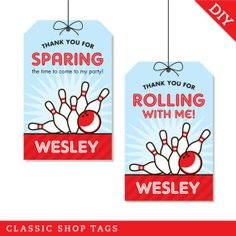 Bowling party  Custom DIY printable favor tags by chickabug, $12.00 #MelsLoneStarLanes #GeorgetownTX #Texas #BowlingParty