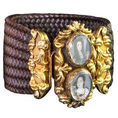 VICTORIAN Unusual Braided Hair & Miniature Portrait Bracelet braid bracelet, miniature portrait, braided bracelets, miniatur portrait, antique jewelry, victorian hairwork, antiqu jewelri, braid hair, mourn jewelri