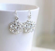 Bridal Earrings Cubic Zirconia Floral CZ Sterling by SomsStudio, $30.00