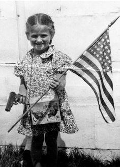 little girls, guns, flags, vintage americana, vintage photos, vintage photographs, black white, kid, american girls