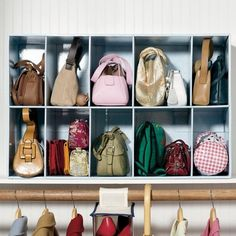 "Shelf Organizer from Brylane Home, $30 Touted as a ""Parking lot for purses,"" this organizer is sized to fit a regular shelf. #closetstorage"