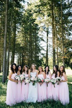 Blush pink bridesmaids dresses | www.onefabday.com