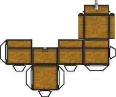 Minecraft Papercraft Chest with opening lid