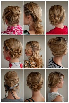 PRACTICAL hairstyles I can actually use! http://blog.weddingpaperdivas.com/wp-content/uploads/2011/07/hairstyles.gif