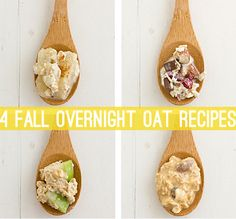 "4 Overnight Oat Recipes for Fall - Also known as summer porridge, these are basic recipes using ""fall"" flavors. The base is equal parts (1/2 cup) oats and milk (coconut, in this case). I also make a version with equal parts oats, milk and yogurt (1/3-1/2 cup of each). The add-ins after that are unlimited and you can find tons of great ideas and recipes online."