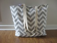 Large Beach Bag - Gray Chevron Beach Tote - Water Resistant Lining - Interior Pocket on Etsy, $39.99