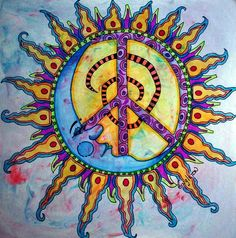 ✪☯☮ॐ American Hippie Psychedelic Art Peace Sign ☮ Sun