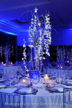 Blue & white wedding reception decorations - www.DominoArts.com