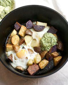 Crispy Potatoes with Baked Eggs and Pesto Yogurt