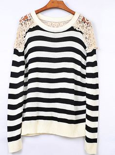 Striped Round Neck Black Sweater with Lace<3