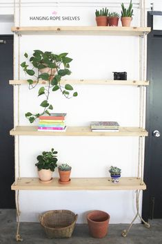 How To: Create Hanging Rope Shelves for Your Office or Living Space » Curbly   DIY Design Community