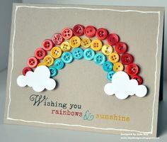 idea, craft, button rainbow, rainbows, button card, buttons, rainbow card, diy, cards