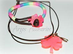 #pulsera #Hilo #Chino Broches #Neon #Agrilico #Collar #trebol #Neon..