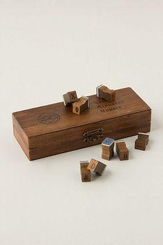 Alphabet & Numbers Wooden Stamp Set  #anthropologie