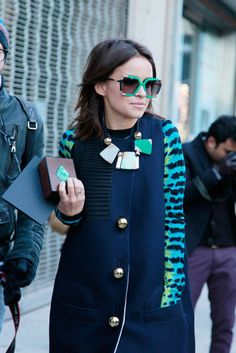 Proenza Schouler coat and vintage sunglasses