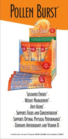 """PIN IT TO WIN IT!"" - 30 packets of Pollen Burst by Youngevity - The world's first energy drink powered by flower pollen. Featuring vitamin D and the powerful antioxidant SOD, this great-tasting natural orange-flavored drink helps the body fight damage by free radicals, toxins, and other environmental stresses."