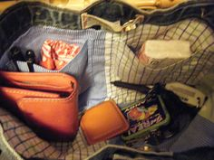 jean purse with men's shirts (with pockets) as liner