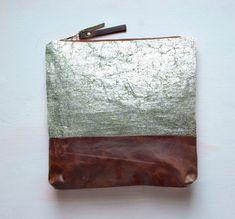 S I L V E R Metallic Leather Clutch.