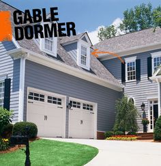 A gable (sometimes called a dog house) dormer is a style of dormer in which two sloped roofing planes meet, creating a ridge.