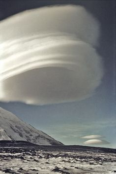 Lenticular Cloud Formation over a Volcano in Kamchatka, Russia.