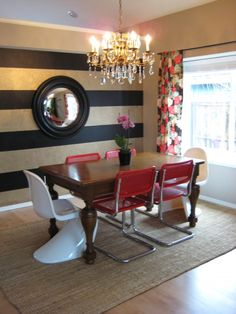 eclectic dining room design with striped wall