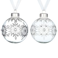 John Lewis Jewel Snowflake Glass Bauble