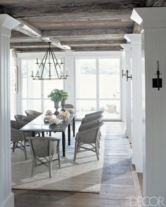 white & wood ceiling