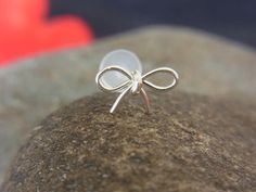 "Cute Silver Bow Tragus Earring...Makes me rethink my ""no more piercing"" policy"