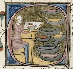 """El artista mezclando los colores    Detalle de una letra inicial 'C' (de """"Color"""" en latín) de una página del libro """"Omne Bonum"""" de James le Palmer. Inglaterra (Londres), 1360 - 1375    ©The British Library Board"""
