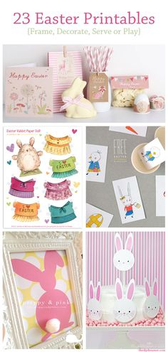 #23 Easter Free Printables - Including Paper Easter Bunny Paper Doll Sets !